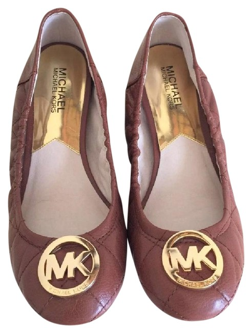 Item - Brown Leather Ballet Gold Mk Logo Women's Flats Size US 7 Regular (M, B)