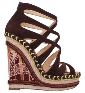 Christian Louboutin High Heels Pigalle Slingback Brown Sandals