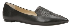 Ann Taylor Studded Pointed Toe Leather Chic Comfortable Grey Steel Flats