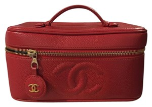 Chanel Auth. CHANEL. Red Caviar Skin CC Logo Cosmetic Vanity Hand Bag.Gold HW