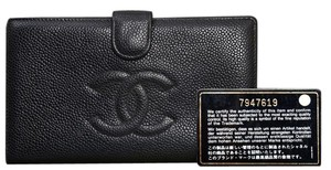 Chanel 6.85 Black Caviar Leather Bifold Cash Credit Coin Purse with Box