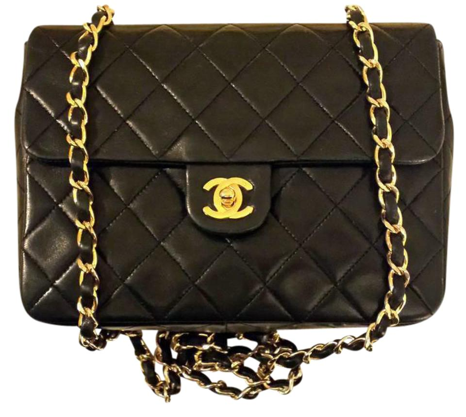0a6a90669bf0 Chanel 2.55 Reissue Classic Square Mini Small M Single Flap Quilted Cc Logo  Black Lambskin Leather Shoulder Bag
