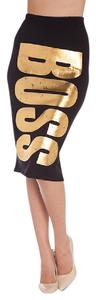 cleo Pencil New Unique Glam Trendy Skirt Black and Gold