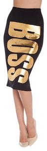 cleo New Pencil Trendy Glam Skirt Black and Gold