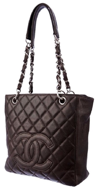 Item - Petite Shopping Pst Cc Logo Shoulder Classic Timeless Brown Caviar Leather Tote
