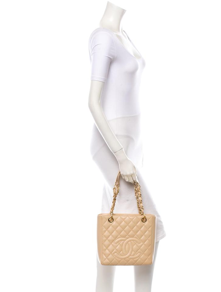 00afce6cd6e377 Chanel Pst Petite Shopping Cc Logo Flap Classic Tote in Beige Gold Image  11. 123456789101112