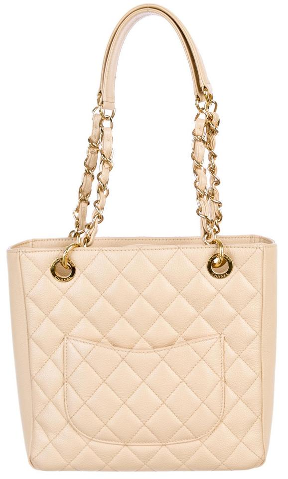 eeea14efbf22 Chanel Petite Shopping Pst Cc Logo Shoulder Classic Timeless Beige Gold  Caviar Leather Tote