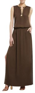 Brown Maxi Dress by BCBGMAXAZRIA Sleeveless Sateen Maxi