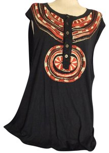Just Cavalli Embroidered Embellished Knit Aztec Tribal Top Black