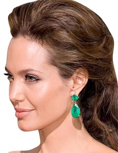 Kenneth Jay Lane KJL Emerald Green color TearDrop Tear Drop Dangling Jolie Pierced Gold