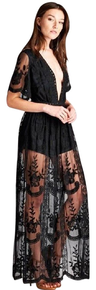 284674af0f3 Honey Punch Black Lace Overlay Romper Jumpsuit - Tradesy