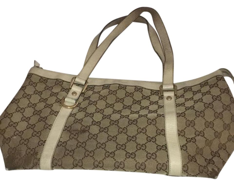 4810944a499 Gucci Medium Top Zip -141470 Beige Brown Canvas Leather Shoulder Bag ...