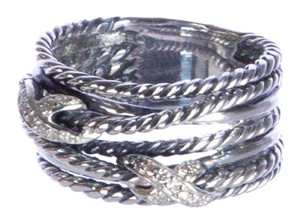 David Yurman Double X Crossover Ring with Diamonds 9-14mm $650 NWOT