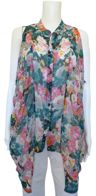 Item - Pink Floral Tunic Blouse Size OS (one size)