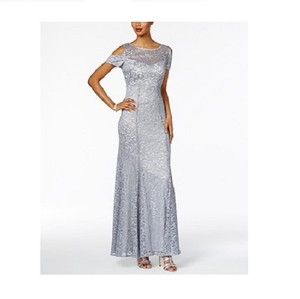 R & M Richards Gray (Platinum) Polyester/Spandex Women's Glitter Lace Cold Shoulder A-line Gown Formal Bridesmaid/Mob Dress Size 10 (M)
