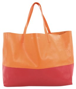 Celine Leather Tote in Orange and Red