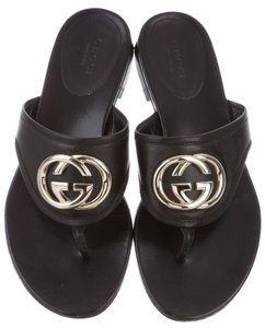 Gucci Embellished Gg Horsebit Gold Hardware Black, Gold Sandals