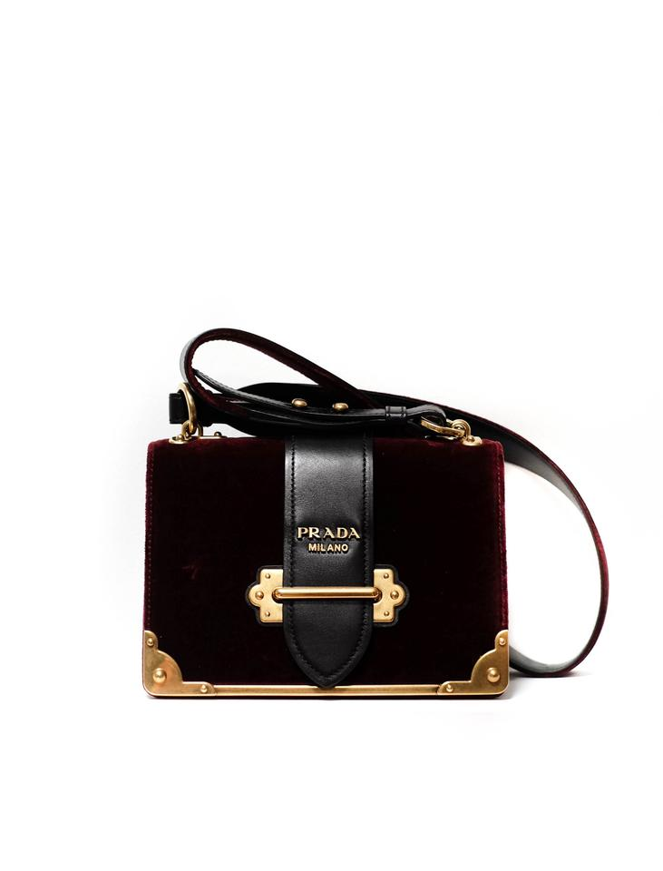 c3c16b08578e85 Prada Cahier And Oxblood Velvet/Leather Shoulder Bag - Tradesy