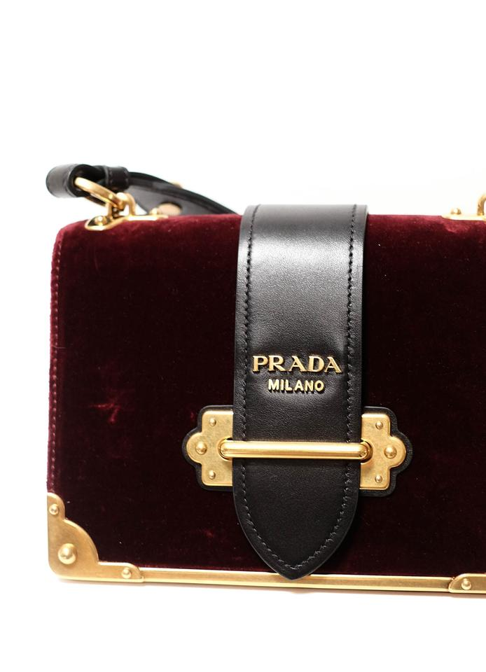8b4b57f4fec Prada Cahier And Oxblood Velvet Leather Shoulder Bag - Tradesy