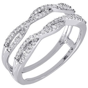 10k White Gold Diamond Solitaire Engagement Ring Enhancer Wrap Swivel 0.36 Ctw.