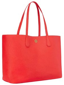 Tory Burch Tote in poppy red/pale apricot