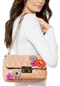 Michael Kors Quilted Lambskin Embellished Large Sloan Sloan Flroal Cross Body Bag