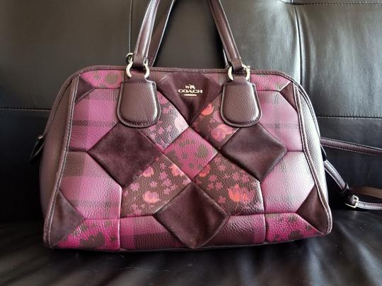 Coach Leather Floral Satchel in Patchwork Image 1