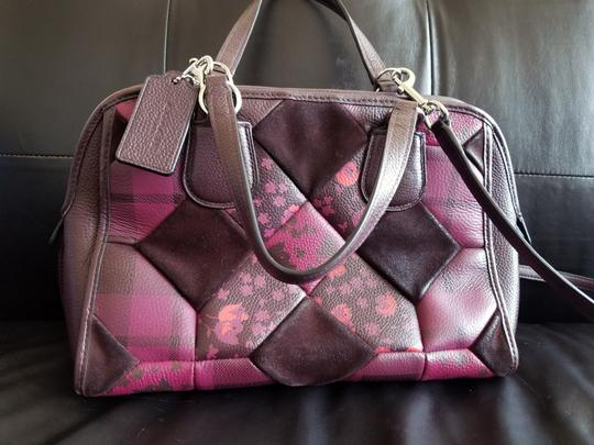 Coach Leather Floral Satchel in Patchwork Image 4