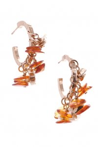 Chanel Chanel Gold-Tone Amber CC Hoop Earrings