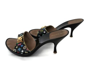 Louis Vuitton Monogram Lacquered Slides BLACK MULTICOLOR MURAKAMI Mules