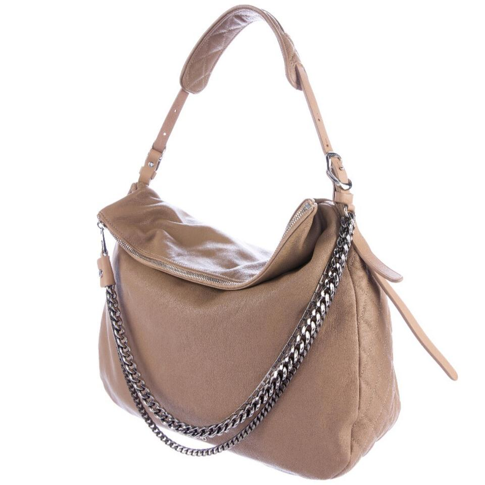 5b47c055e96 Jimmy Choo Biker Chain Boho Hobo Taupe Leather Shoulder Bag - Tradesy