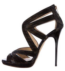 Jimmy Choo Gold Hardware Metallic Collar Strappy Ankle Black, Gold Sandals