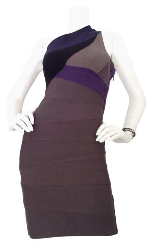 5717893e004cf Hervé Leger Grey Multi One Shoulder Bandage Mid-length Cocktail ...