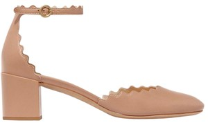 Chlo Chloe Lauren Scalloped Mary Jane Ankle Strap Beige Pumps
