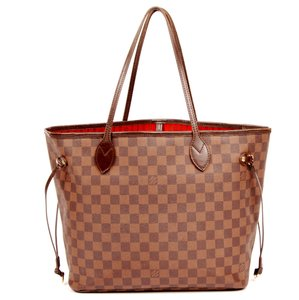 Louis Vuitton Damier Canvas Neverfull Leather Canvas Neverfull Mm Tote in Brown