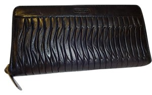 Coach Large Black Gathered Leather TAYLOR Zip Around Accordion Wallet 49889
