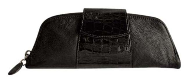 Item - Pebbled Croc Embossed Patent Crown Cl Black Leather Clutch