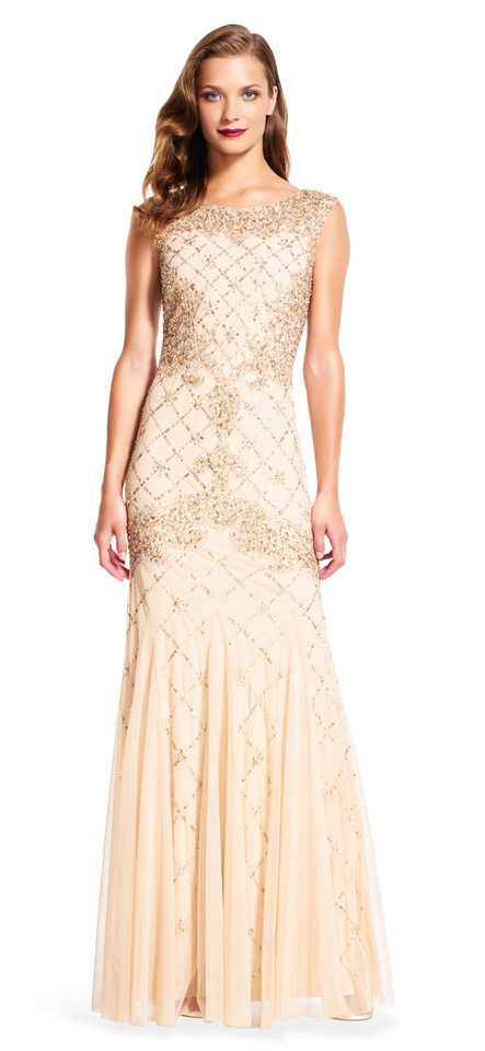 Adrianna Papell Champagne Fully Beaded Sleeveless Godet Gown Long ...