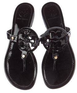 1405ac8a2 Tory Burch Miller Patent Leather Reva Logo Gold Hardware Black Sandals