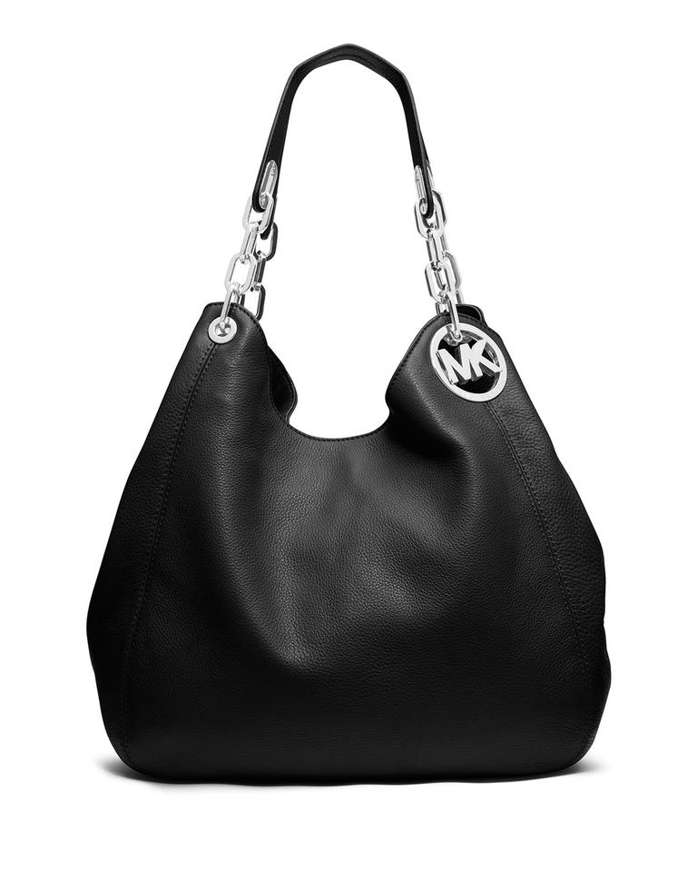 Michael Kors Fulton Large Tote Black   Silver Leather Shoulder Bag ... caf4e636ff4de
