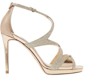Jimmy Choo Pumps Glitter Ankle Strap Crisscross Strap Evening Gold Sandals