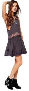 Free People short dress NWT Grey Lace Inserts Shiired Sheer on Tradesy