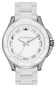 Karl Lagerfeld Karl Lagerfeld Unisex '7' Beveled Bezel While Silicone Watch 36mm