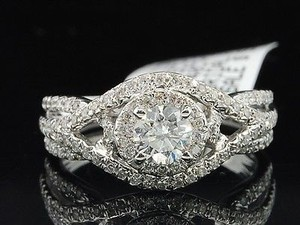 Solitaire Diamond Halo Engagement Ring 14k White Gold Round Cut 1.25 Ct