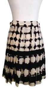 A.L.C. Dip Dye Ombre Silk A-line Pleated Skirt black and white