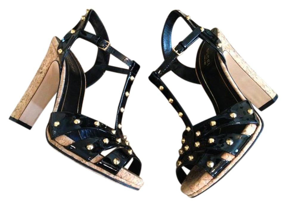 fef0336cb Gucci Studded Patent Leather Cork Strappy black Sandals Image 0 ...