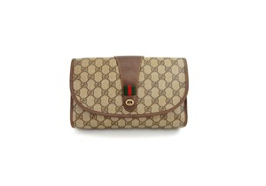Gucci Monogram Cosmetics Brown Clutch