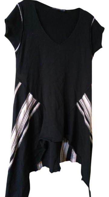 Item - White Black Beige Made In France Uneven Tunic Size 10 (M)