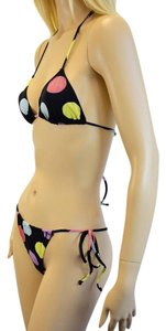 Moschino MOSCHINO BLACK MULTI-COLOR POLKA DOTS 2PC BIKINI SIZE LARGE df