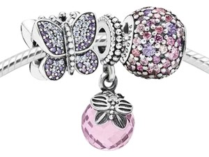 PANDORA New Pandora purple and pink charm set in original gift pouch